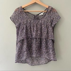 American Eagle Semi Sheer Floral Tiered Top XS